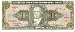 BILLETE DE BRASIL DE 10 CRUZEIROS RESELLO 1 CENTAVO EN CALIDAD EBC++ (BANKNOTE) - Brazil