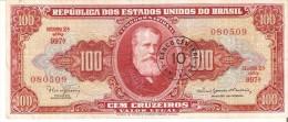 BILLETE DE BRASIL DE 100 CRUZEIROS CON RESELLO 10 CENTAVOS DEL AÑO 1966-67 (BANKNOTE) - Brasil