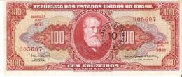 BILLETE DE BRASIL DE 100 CRUZEIROS CON RESELLO 10 CENTAVOS DEL AÑO 1966-67 (BANKNOTE) - Brazil