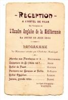 RECEPTION DE L'ESCADRE ANGLAISE DE LA MEDITERRANEE LE 22 JUIN 1905 PROGRAMME - Dokumente