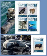slm14702ab Solomon Is. 2014 Endangered animals 2 s/s