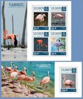 slm14703ab Solomon Is. 2014 Birds Flamingos 2 s/s