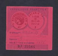 Talon Vignette Automobile Immatriculée  242 DW 77 - Moselle  De 12/64 à 11/65 - Cachet Elise Schmitt Tabac Sarreguemines - Revenue Stamps