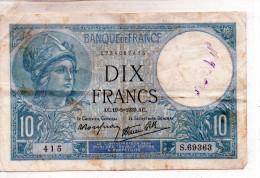- BILLET De 10 FR Minerve 19 5 1939 - état Plié  - 548 - 1871-1952 Anciens Francs Circulés Au XXème
