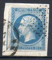 FRANCE - 1853-60 - Second Empire - Napoléon III - N° 14B - 20 C. Bleu (Type II) (Cercle De Points Sur Fragment) - 1853-1860 Napoléon III