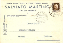 """CARTOLINA COMMERCIALE INTESTATA """"PREMIATE INDUSTRIE SCOPE.SPAZZOLE-PENNELLI SALVIATO MARTINO - MIRANO VENETO - 1900-44 Vittorio Emanuele III"""