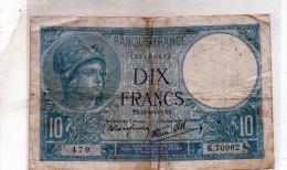- BILLET De 10 FR Minerve 17 8 1939 - état Plié Et Scotché   - 552 - 1871-1952 Antichi Franchi Circolanti Nel XX Secolo