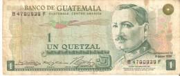 BILLETE DE GUATEMALA DE 1 QUETZAL DEL AÑO 1973  (BANKNOTE) RARO - Guatemala