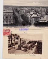 2  CPA De TUNISIE - TUNIS   Cathédrale Et Avenue Jules Ferry - Perspective De L'Avenue De Paris - Tunesië