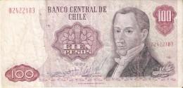 BILLETE DE CHILE DE 100 PESOS DEL AÑO 1980  (BANKNOTE) RARO - Chile