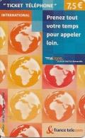 TICKET TELEPONE-7.5€-INTERNATION N AL-31/04/2007-T BE - France
