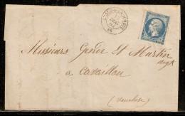 N° 14B Sur Lettre Partielle De L'Isle Sur La Sorgue De 1862 - Marcophilie (Lettres)