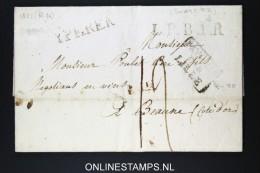Belgium: Letter Yperen To Beaune, 1821, Ieper, LPB1R In Black  , Par Lille - 1815-1830 (Dutch Period)