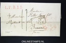 Belgium: Letter Ypres To Beaune, 1834, Ieper, LPB1R In Red  , Belgique Par Lille - 1830-1849 (Belgique Indépendante)