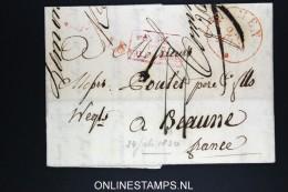 Belgium: Letter Namen To Beaune France 1830 Pays Bas Par Valence - 1815-1830 (Dutch Period)