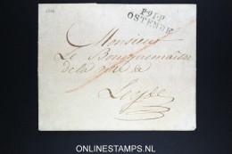 Belgium: Cover P.91.P. / OSTENDE To Leyde Leiden Holland Omslag Zonder Brief Recu  2 Nov 1802 - 1794-1814 (French Period)