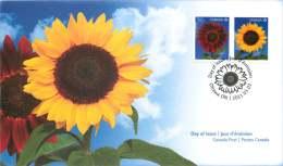 2011   Sunflowers  Large Format  Sc 2443-4  Se-tenant Pair From Booklet - Omslagen Van De Eerste Dagen (FDC)