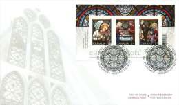 2011  Christmas Issue:  Stained Glass  Sc 2490  Souvenir Sheet Of 3 Different - Omslagen Van De Eerste Dagen (FDC)