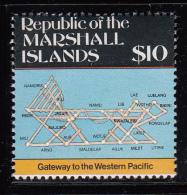 Marshall Islands MNH Scott #109 $10 Stick Chart Of The Atolls - Maps - Marshall