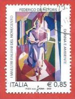 ITALIA REPUBBLICA USATO - 2009 - Maestri Italiani Del Novecento - Federico De Pistoris - € 0,85 - S. 3146 - 6. 1946-.. Repubblica