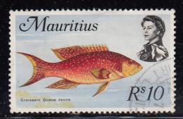 Mauritius Used Scott #356b 10r Moonfish, Wmk Scott 373: CA, Rounded Crown - Maurice (1968-...)