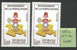 "FR Variétés YT 2202 "" Recensement "" 1982  ""7"" De La Corse Absent - Errors & Oddities"