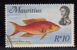 Mauritius Used Scott #356 10r Moonfish, Wmk Scott 314: Multiple St Edward's Crown, CA Upright - Maurice (1968-...)