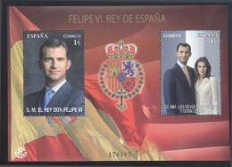 SPAIN, 2014, MNH,KING FELIPE VI, SPANISH FLAG, S/SHEET - Koniklijke Families