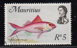 Mauritius Used Scott #355a 5r Sacre Chien Rouge Fish, Wmk Scott 314: Multiple St Edward´s Crown, CA Sideways - Maurice (1968-...)