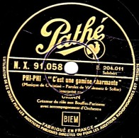 """78 Trs - 25 Cm - Pathé X. 91.058 - état EX - URBAN - PHI-PHI """"C'est Une Gamine Charmante"""" """"Chanson Des Petits Païens"""" - 78 T - Disques Pour Gramophone"""