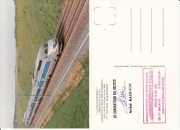 CARTE POSTALE SPECIALE DE 1990 SUR LA RAME DU RECCORD DE 515,3 Km/h DU TGV ATLANTIQUE - Trenes