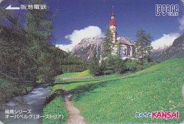 Carte Prépayée Japon  - Site AUTRICHE - OBERNBERG / TYROL - Montagne Eglise - AUSTRIA Rel Japan Prepaid Card 3 - Montagnes