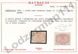 ROMAN STATES 1852 1 Scudo - Yv.11 (Mi.11, Sc.11) MNG (VF) Certificate Raybaudi - Stato Pontificio