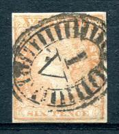 VICTORIA 1854 - Yv.6 (Mi.7B, Sc.17) All Margins (perfect) Rare Quality - 1850-1912 Victoria