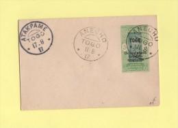 Entier Postal - TOGO Occupation Franco-anglaise - ATAKPAME ANECHO - 1917 - Togo (1914-1960)