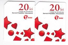 Moldova   Moldavie  Moldau ,  Prepaid Phonecards -  Unlte  ,  20 Lei  +20 Lei , Tipe 3 , Paper , Used - Moldova