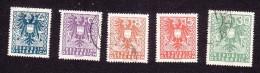 Austria, Scott #432, 435, 436, 438, 444, Used, Coat Of Arms, Issued 1945 - 1918-1945 1a Repubblica