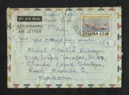 Ghana Air MAil Postal Used Aerogramme Cover Ghana To Pakistan Airplane - Ghana (1957-...)