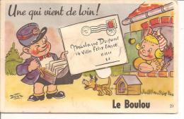 """CARTE A SYTEME """"UN QUI VIENT DE LOIN ,LE BOULOU """" PETIT FACTEUR ,SIGNEE BOZZ REF 41914 - Autres Communes"""