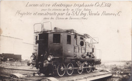 MAR-  CARTE PHOTO LOCOMOTIVE ELECTRIQUE TRIPHASEE CONSTRUITE PAR SAI NICOLA ROMEO - Trains