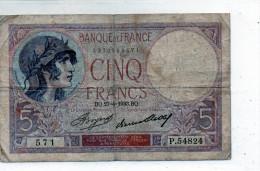 -  BILLET De CINQ Fr Violet 27 4 1933  Plié - 554 - 1871-1952 Antichi Franchi Circolanti Nel XX Secolo