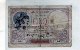 -  BILLET De CINQ Fr Violet 19 10 1939  Plié - 556 - 1871-1952 Antichi Franchi Circolanti Nel XX Secolo