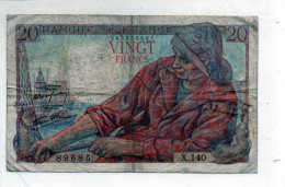 -  BILLET De 20 Francs Pêcheur - 5 7 1945  - Plié - 558 - 1871-1952 Anciens Francs Circulés Au XXème