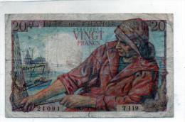 -  BILLET De 20 Francs Pêcheur - 10 2 1944  - Plié - 560 - 1871-1952 Anciens Francs Circulés Au XXème