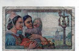-  BILLET De 20 Francs Pêcheur - 5 7 1945  - Plié - 564 - 1871-1952 Circulated During XXth