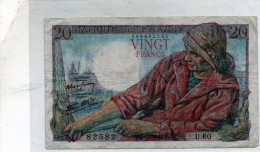 -  BILLET De 20 Francs Pêcheur - 5 11 1942  - Plié - 567 - 1871-1952 Anciens Francs Circulés Au XXème