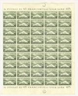 AFRICA ORIENTALE ITALIANA - A.O.I. - FOGLIO INTERO 1 LIRA - VERDE OLIVA ANNO 1938 - MNH ** NUOVO FOGLIO DI 45 - Africa Orientale Italiana