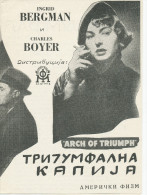 Film, Movie, Cinema Program - ARCH OF TRIUMPH - Arc De Triomphe,   Boyer , Ingrid Bergman , OLD EX YU MOVIE PROGRAM - Programma's