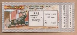 TOROS - Entrada Corrida De Toros En LORCA 1976 - Tickets - Entradas