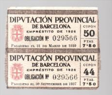 2 Cupones Diputacion Provincial De Barcelona 1926 - Tickets - Entradas